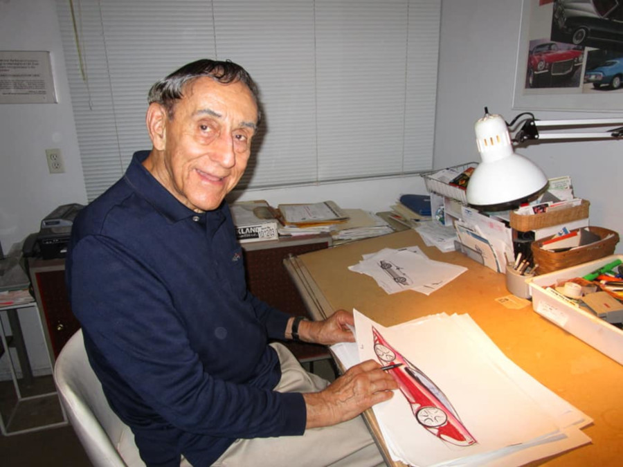 Elia Russinoff seated at his drawing desk at home Eva Corvair Lady McGuire RESIZED 1