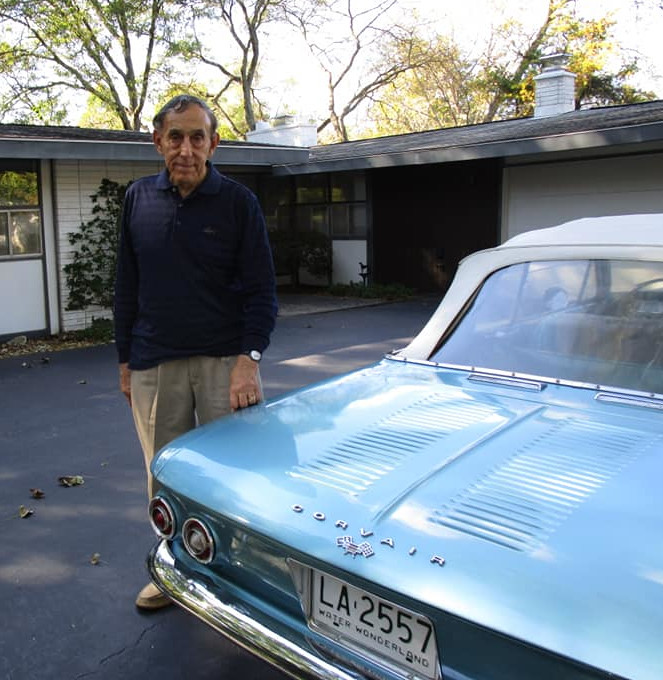 Russinoff standing next to a Corvair Eva Corvair Lady McGuire RESIZED 2