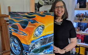Shan Fannin with a 1956 Chevrolet painting 1