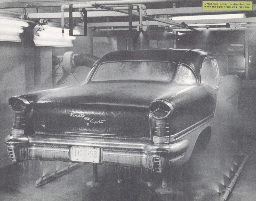 A 1957 Olds 98 undergoes testing for water leaks GM Media Archives RESIZED 7