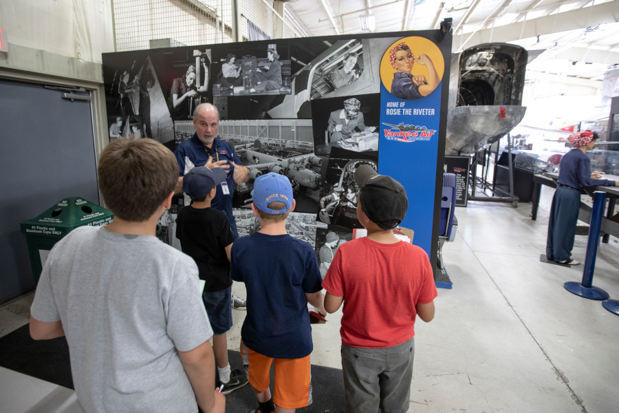 Campers learn about Rosie the Riveter Ann Arbor Hands On Museum 6