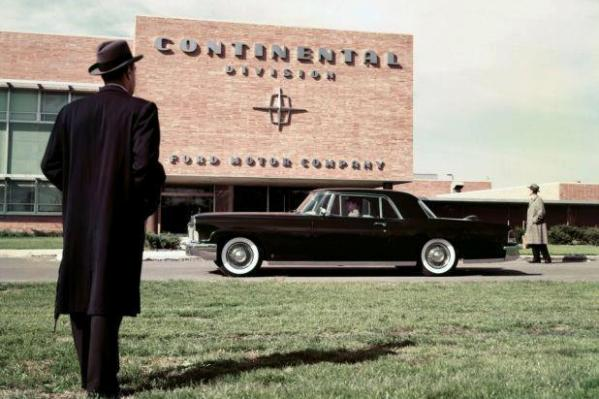 1956 Continental parked in front of the Continental division building Ford Motor Company Archives 3