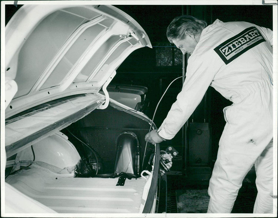 A Ziebart technician applies rustproofing early 1960s Ziebart RESIZED 4