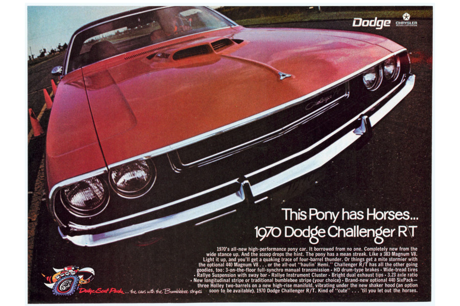 Ad featuring the front end of the 1970 Dodge Challenger Chrysler Archives RESIZED 1