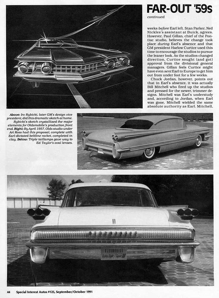 An article featuring the design of the 1959 Oldsmobile Special Interest Autos magazine 2