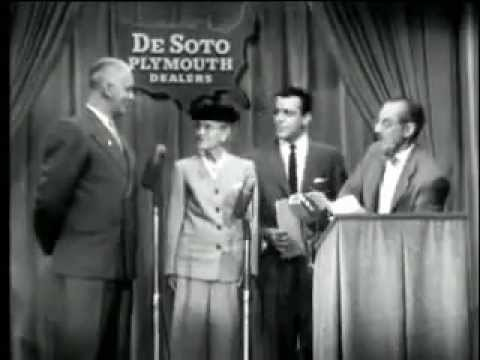 Groucho Marx hosting You Bet Your Life sponsored by DeSoto Plymouth Dealers NBC TV 5