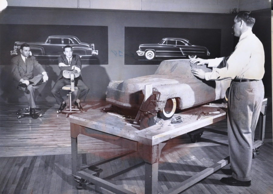 Ford Design Studio developing the 1956 Mark II with William Clay Ford RESIZED 4