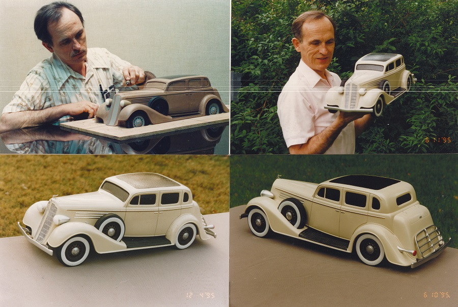Konopka with model of a 1935 Buick Konopka Collection
