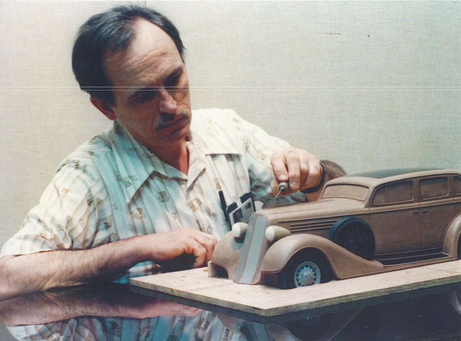 Ronald Konopka with clay model of 1935 Buick Konopka Collection