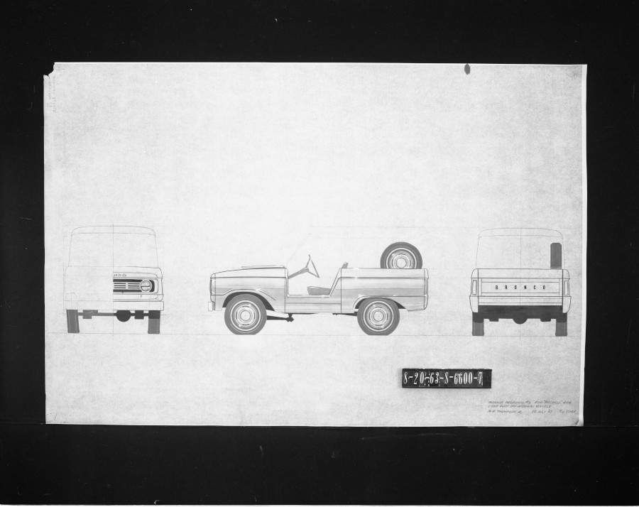Pencil drawing of 3 views of the original Ford Bronco design Ford Motor Company Archives RESIZED 3