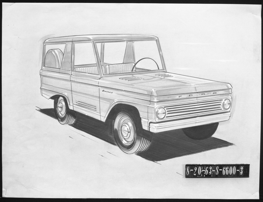 Pencil drawing of the original Ford Bronco design Ford Motor Company Archives RESIZED 2